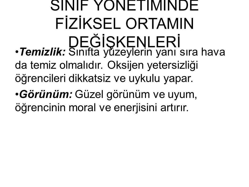 SINIF YÖNETİMİNDE FİZİKSEL ORTAMIN DEĞİŞKENLERİ