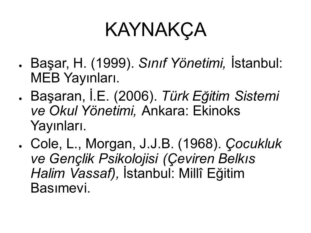 KAYNAKÇA Başar, H. (1999). Sınıf Yönetimi, İstanbul: MEB Yayınları.