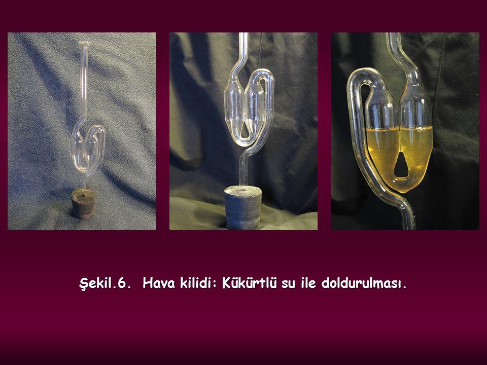 Şekil.6. Hava kilidi: Kükürtlü su ile doldurulması.