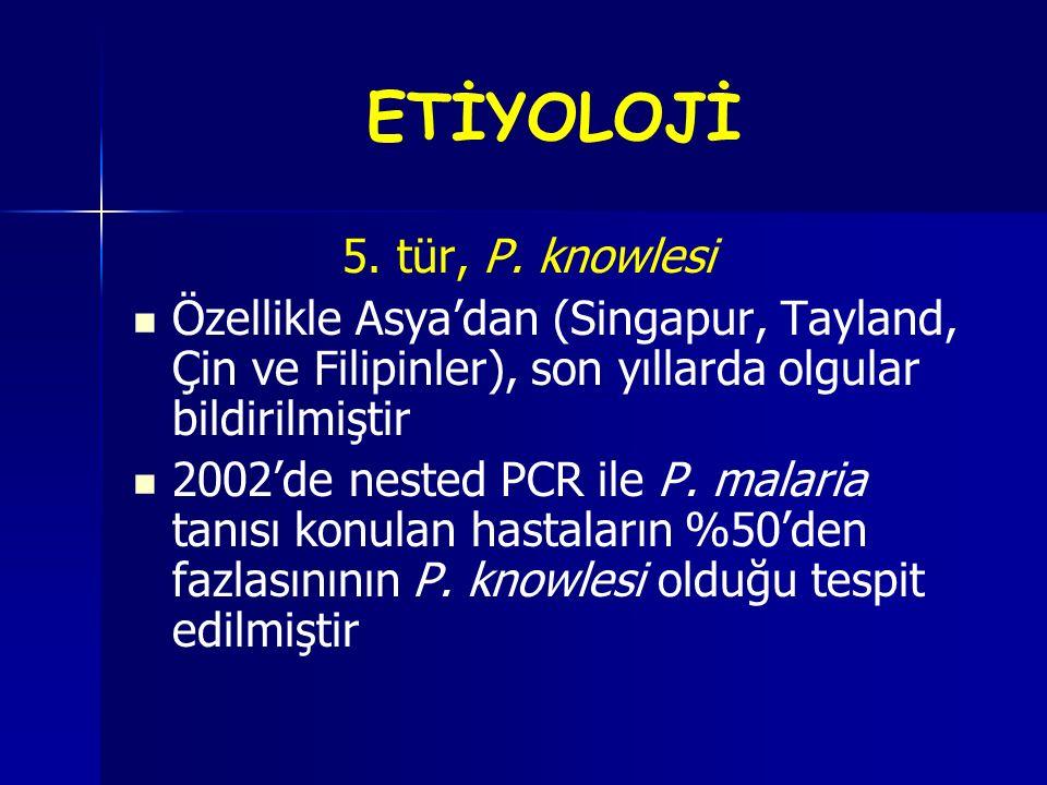 ETİYOLOJİ 5. tür, P. knowlesi