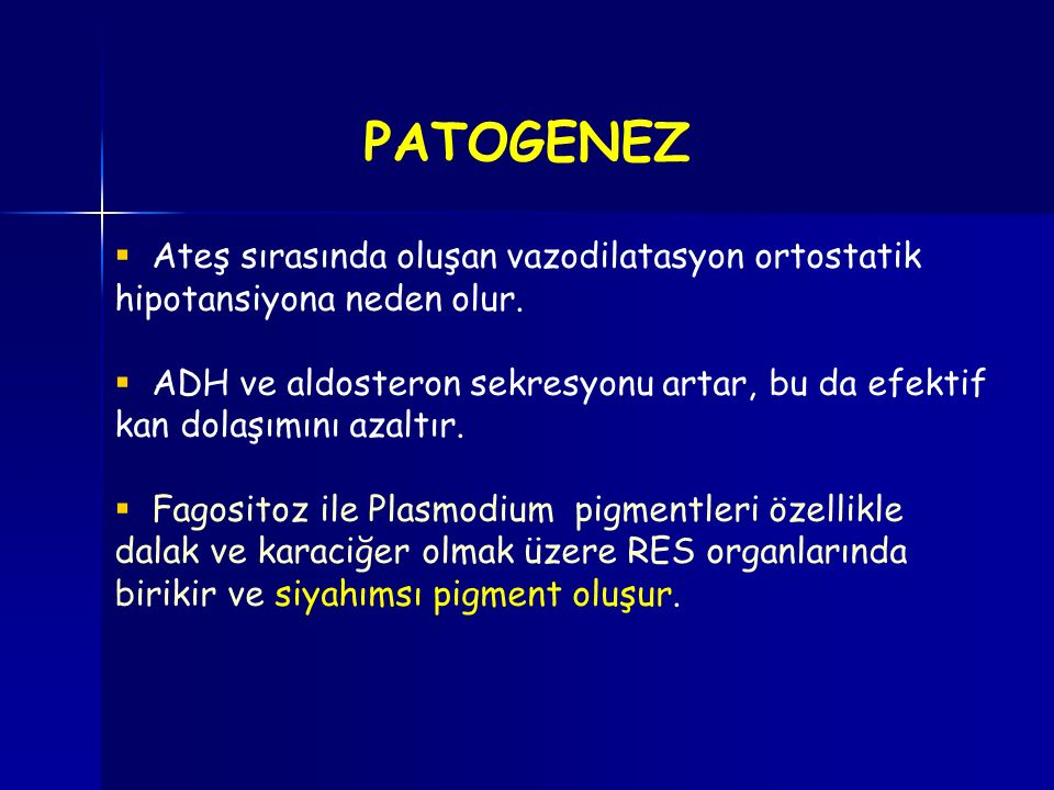 PATOGENEZ Ateş sırasında oluşan vazodilatasyon ortostatik