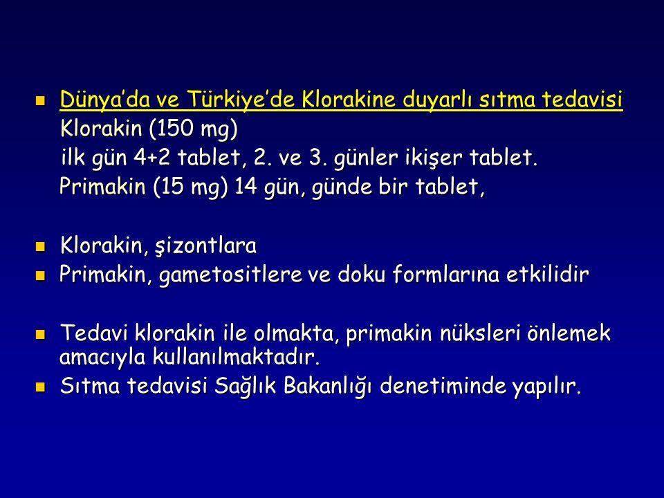 Dünya'da ve Türkiye'de Klorakine duyarlı sıtma tedavisi