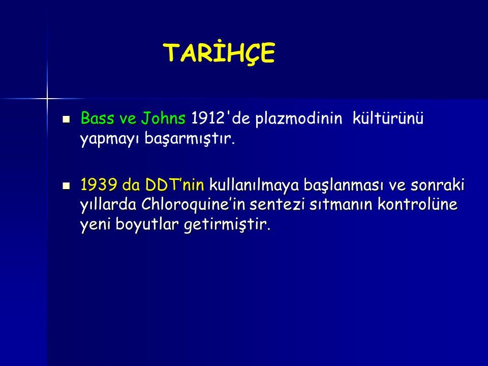 TARİHÇE Bass ve Johns 1912 de plazmodinin kültürünü yapmayı başarmıştır.