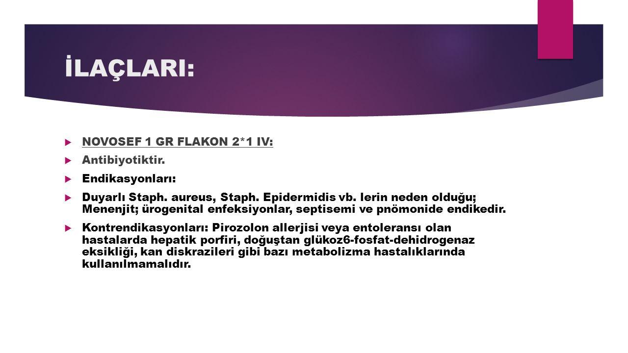 İLAÇLARI: NOVOSEF 1 GR FLAKON 2*1 IV: Antibiyotiktir. Endikasyonları: