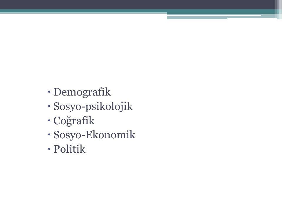 Demografik Sosyo-psikolojik Coğrafik Sosyo-Ekonomik Politik