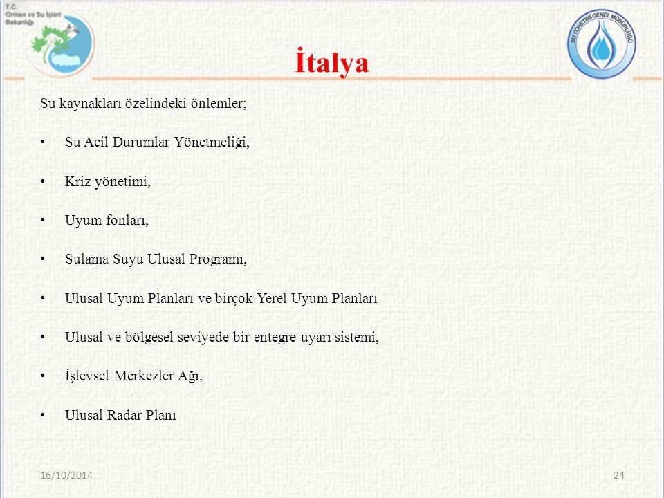 İtalya Su kaynakları özelindeki önlemler;