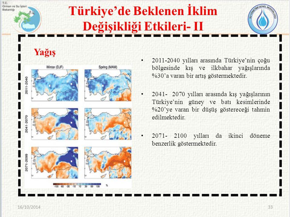 Türkiye'de Beklenen İklim Değişikliği Etkileri- II