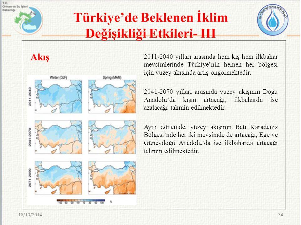 Türkiye'de Beklenen İklim Değişikliği Etkileri- III