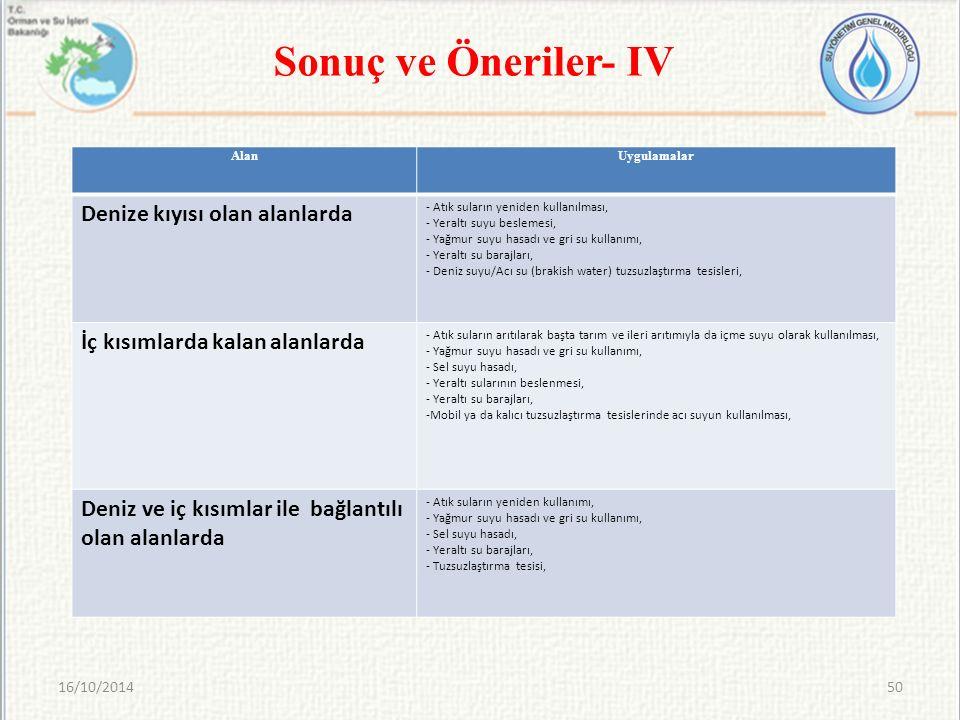 Sonuç ve Öneriler- IV Denize kıyısı olan alanlarda