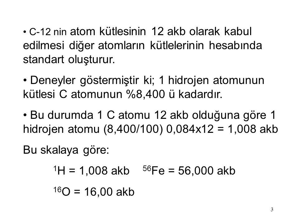 C-12 nin atom kütlesinin 12 akb olarak kabul edilmesi diğer atomların kütlelerinin hesabında standart oluşturur.