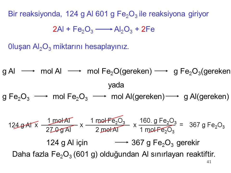 Daha fazla Fe2O3 (601 g) olduğundan Al sınırlayan reaktiftir.