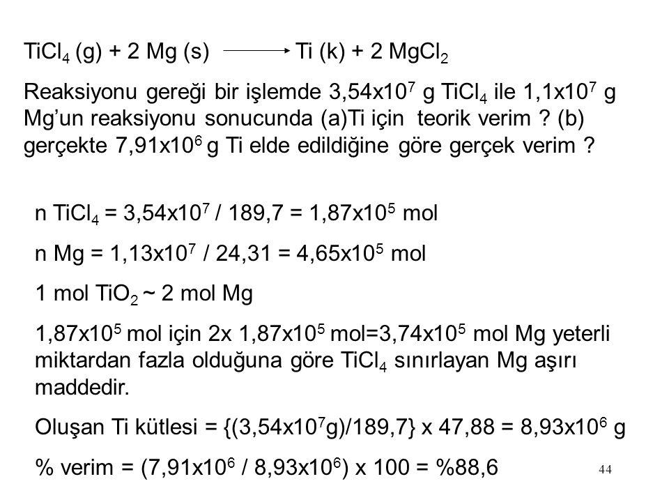 TiCl4 (g) + 2 Mg (s) Ti (k) + 2 MgCl2