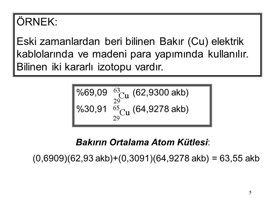 Bakırın Ortalama Atom Kütlesi: