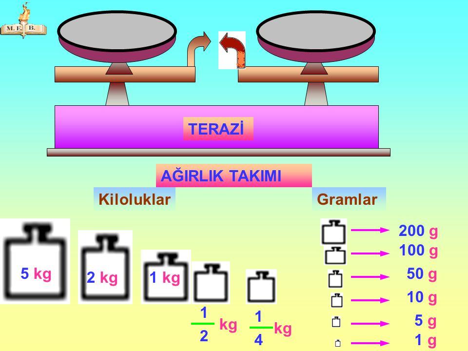 TERAZİ AĞIRLIK TAKIMI Kiloluklar Gramlar 200 g 100 g 5 kg 50 g 2 kg 1 kg 10 g 1 1 5 g kg kg 2 4 1 g
