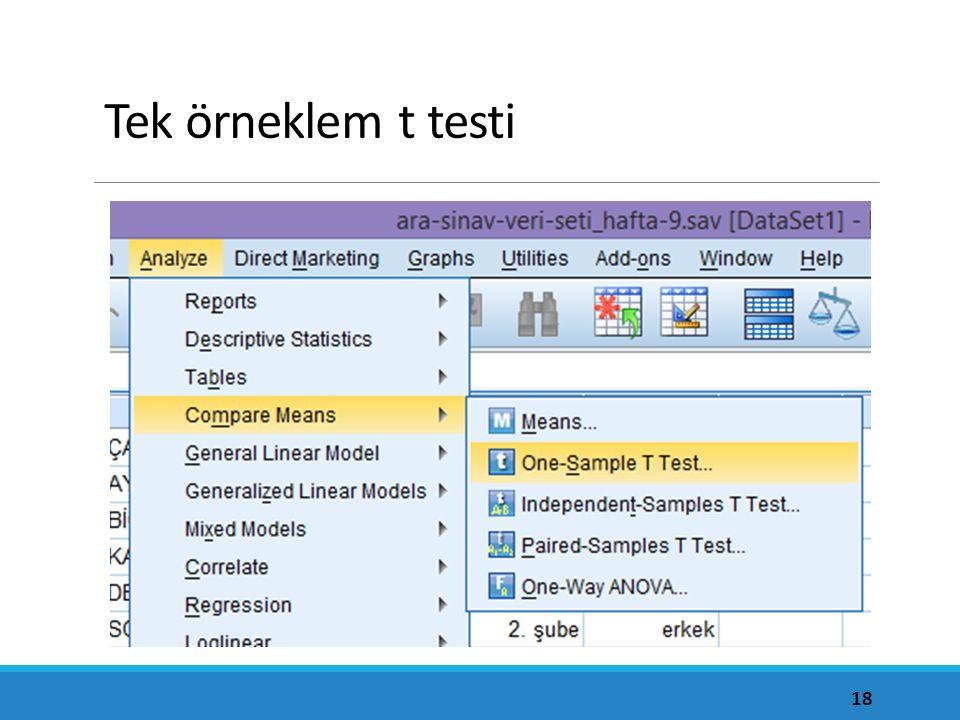 Tek örneklem t testi Varsayımların üçü de sağlandığına göre tek örneklem t testi uygulanabilir