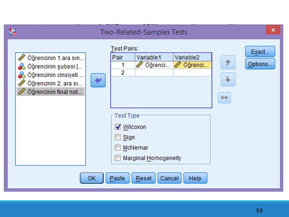 Wilcoxon testinin uygulanma adımları