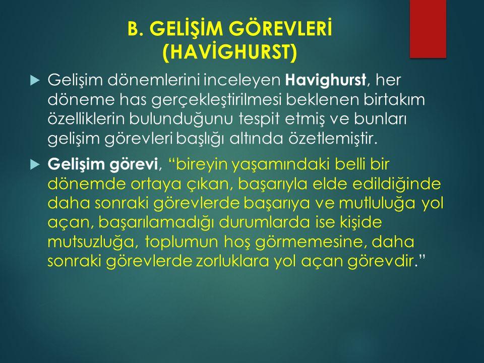 B. GELİŞİM GÖREVLERİ (HAVİGHURST)