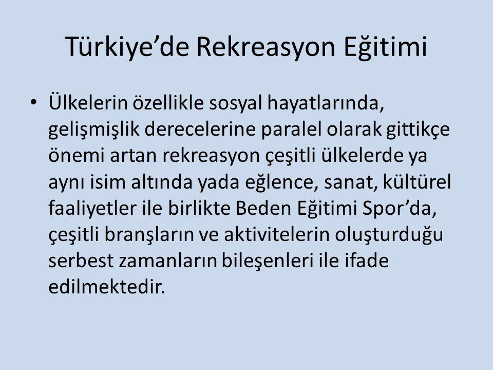 Türkiye'de Rekreasyon Eğitimi