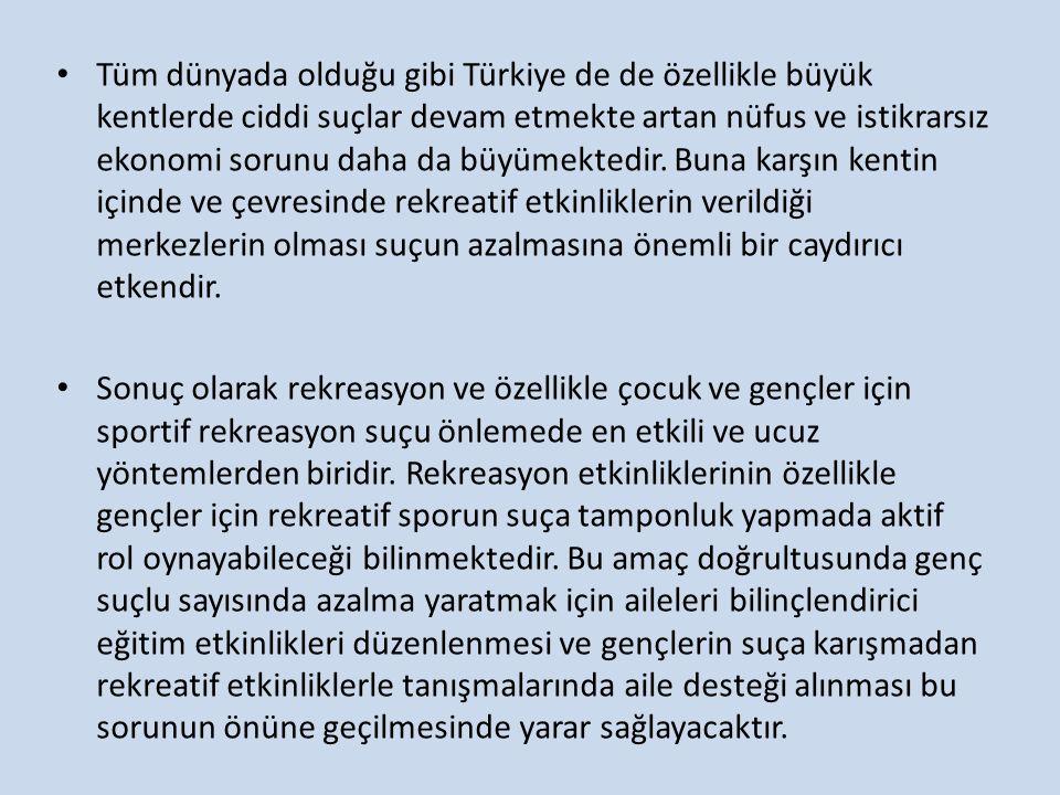 Tüm dünyada olduğu gibi Türkiye de de özellikle büyük kentlerde ciddi suçlar devam etmekte artan nüfus ve istikrarsız ekonomi sorunu daha da büyümektedir. Buna karşın kentin içinde ve çevresinde rekreatif etkinliklerin verildiği merkezlerin olması suçun azalmasına önemli bir caydırıcı etkendir.