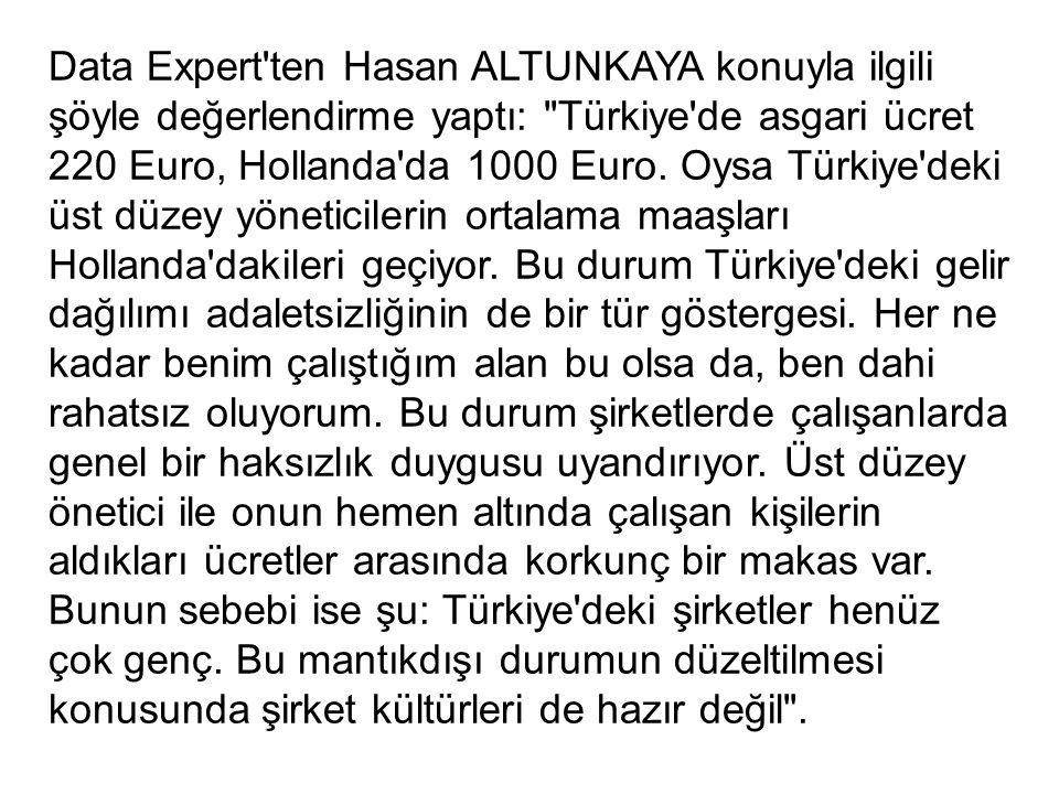 Data Expert ten Hasan ALTUNKAYA konuyla ilgili şöyle değerlendirme yaptı: Türkiye de asgari ücret 220 Euro, Hollanda da 1000 Euro.