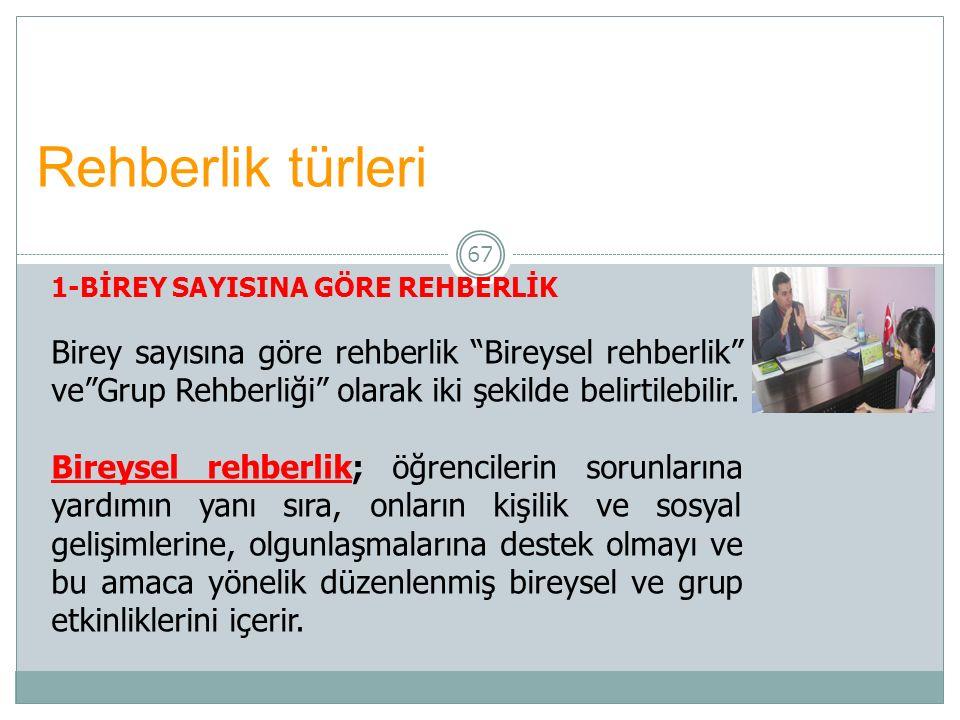 Rehberlik türleri 1-BİREY SAYISINA GÖRE REHBERLİK.