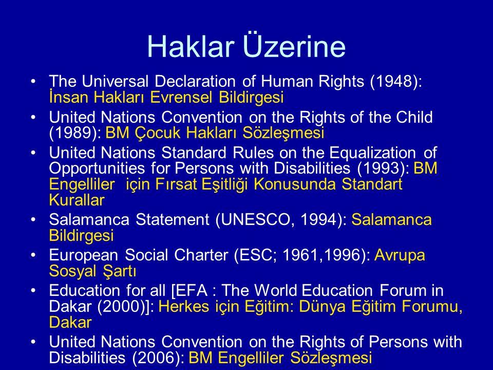 Haklar Üzerine The Universal Declaration of Human Rights (1948): İnsan Hakları Evrensel Bildirgesi.