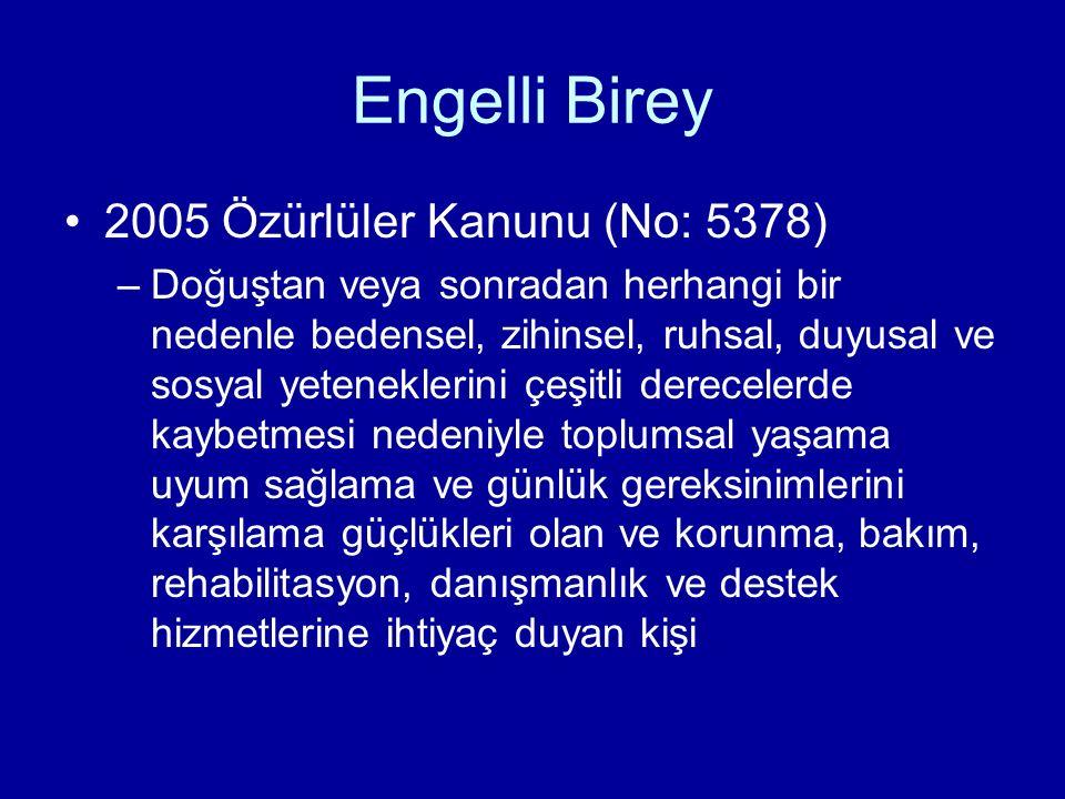 Engelli Birey 2005 Özürlüler Kanunu (No: 5378)