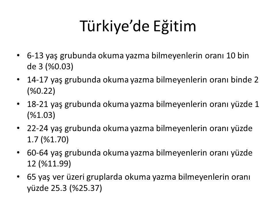 Türkiye'de Eğitim 6-13 yaş grubunda okuma yazma bilmeyenlerin oranı 10 bin de 3 (%0.03)