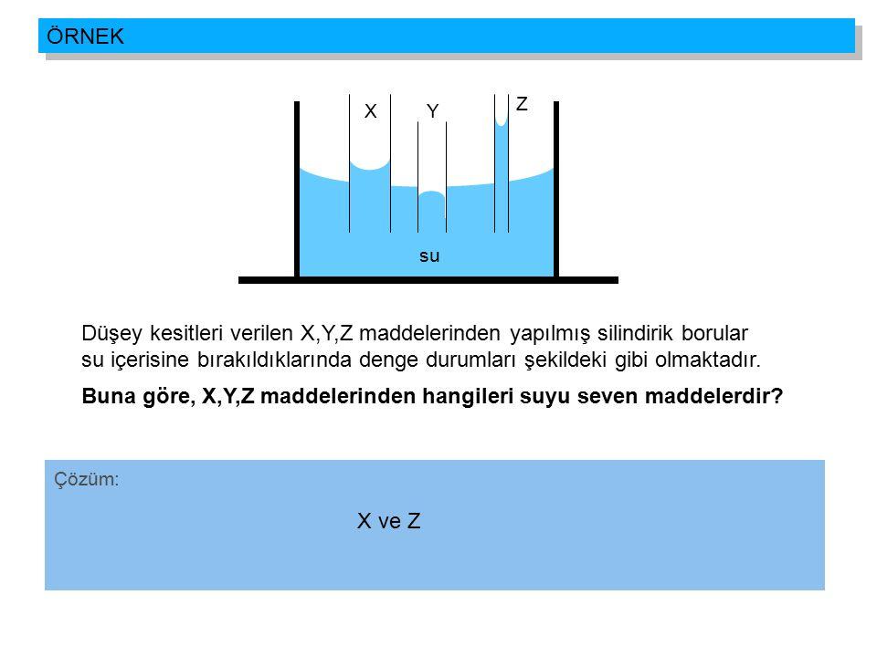 Buna göre, X,Y,Z maddelerinden hangileri suyu seven maddelerdir
