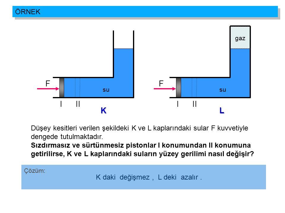 ÖRNEK II. su. I. gaz. F. L. II. su. I. F. K. Düşey kesitleri verilen şekildeki K ve L kaplarındaki sular F kuvvetiyle.