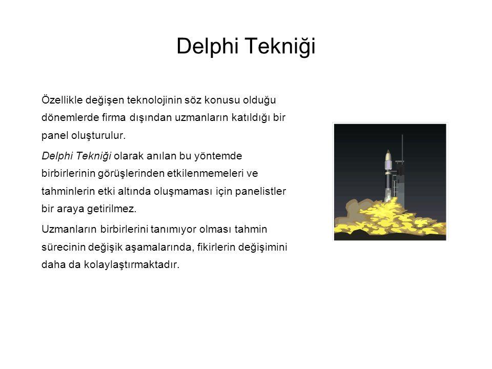 Delphi Tekniği Özellikle değişen teknolojinin söz konusu olduğu dönemlerde firma dışından uzmanların katıldığı bir panel oluşturulur.