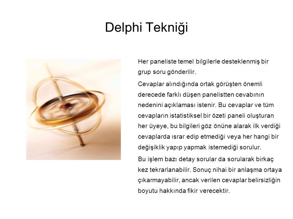 Delphi Tekniği Her paneliste temel bilgilerle desteklenmiş bir grup soru gönderilir.