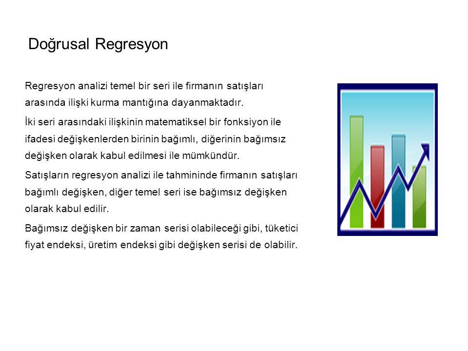 Doğrusal Regresyon Regresyon analizi temel bir seri ile firmanın satışları arasında ilişki kurma mantığına dayanmaktadır.