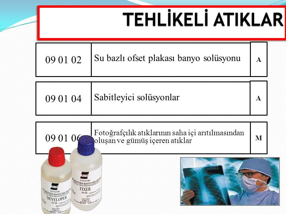 TEHLİKELİ ATIKLAR 09 01 02. Su bazlı ofset plakası banyo solüsyonu. A. 09 01 04. Sabitleyici solüsyonlar.
