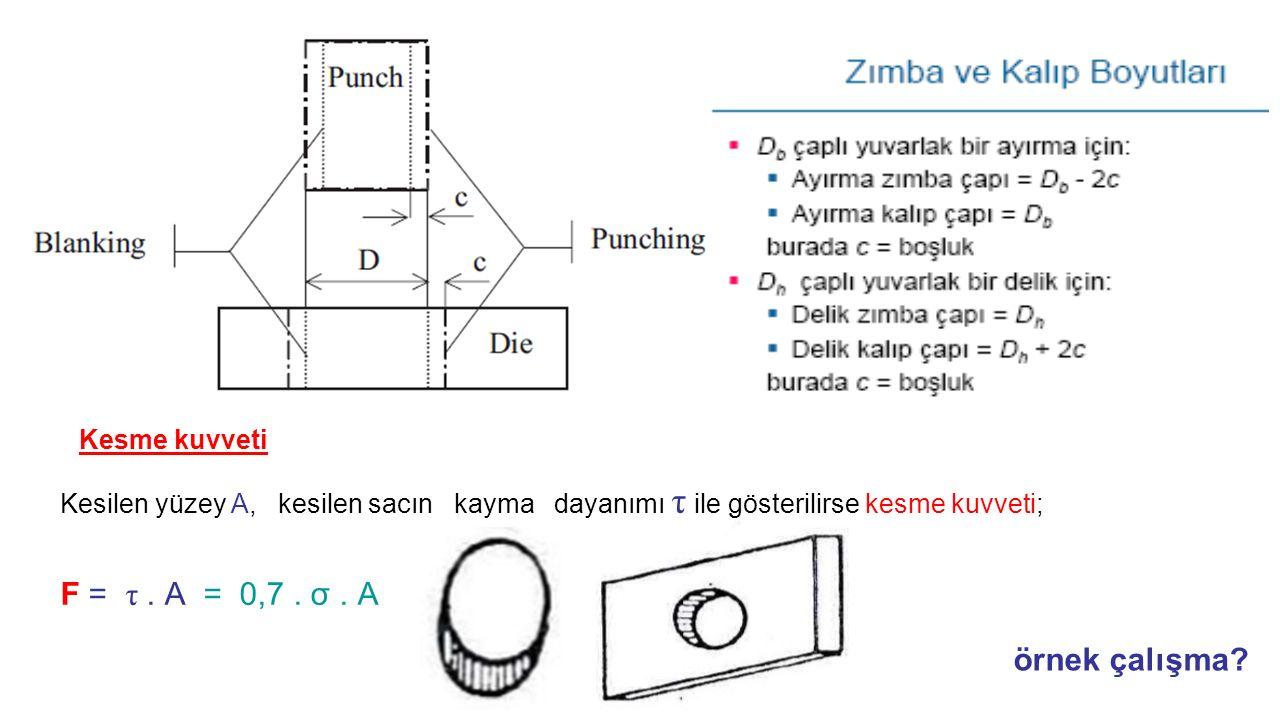 F = τ . A = 0,7 . σ . A örnek çalışma Kesme kuvveti