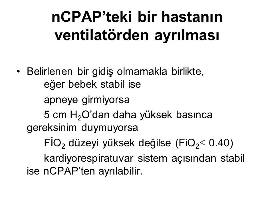 nCPAP'teki bir hastanın ventilatörden ayrılması