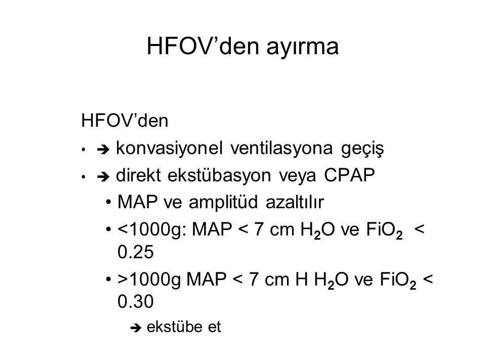 HFOV'den ayırma HFOV'den MAP ve amplitüd azaltılır