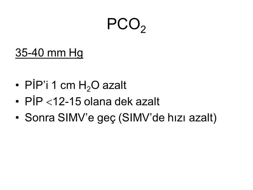 PCO2 35-40 mm Hg PİP'i 1 cm H2O azalt PİP 12-15 olana dek azalt