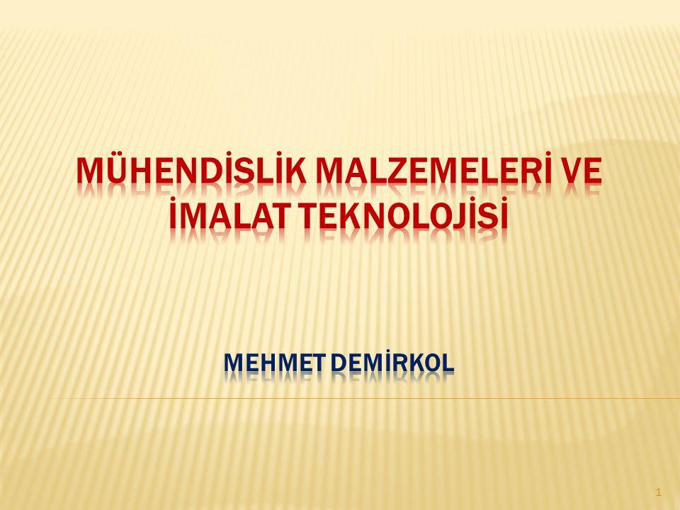 MÜHENDİSLİK MALZEMELERİ ve İMALAT TEKNOLOJİSİ Mehmet DEMİRKOL