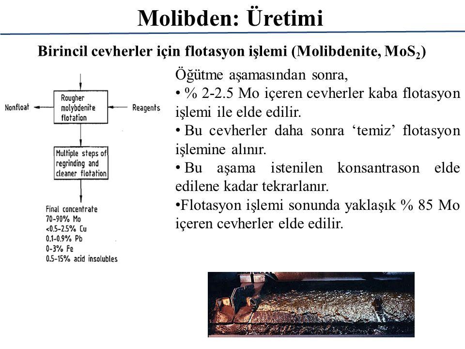 Molibden: Üretimi Birincil cevherler için flotasyon işlemi (Molibdenite, MoS2) Öğütme aşamasından sonra,