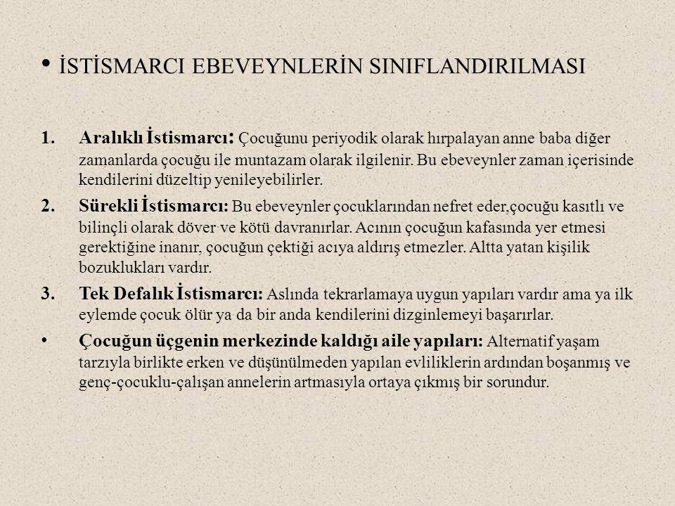 İSTİSMARCI EBEVEYNLERİN SINIFLANDIRILMASI