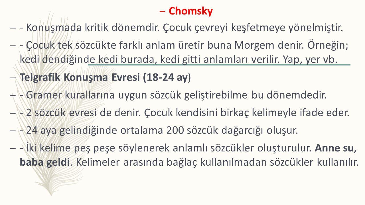 Chomsky - Konuşmada kritik dönemdir. Çocuk çevreyi keşfetmeye yönelmiştir.