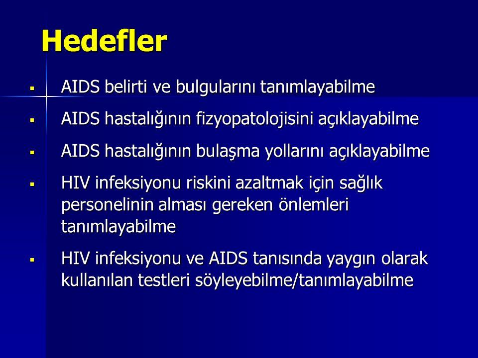 Hedefler AIDS belirti ve bulgularını tanımlayabilme