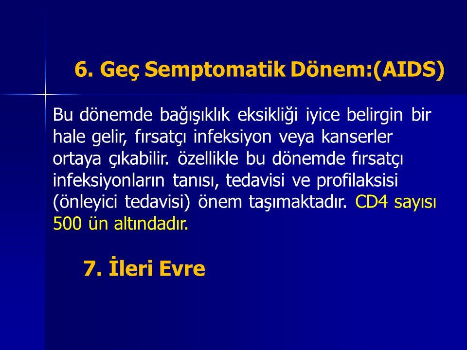 7. İleri Evre 6. Geç Semptomatik Dönem:(AIDS)