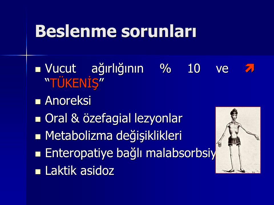 Beslenme sorunları Vucut ağırlığının % 10 ve  TÜKENİŞ Anoreksi