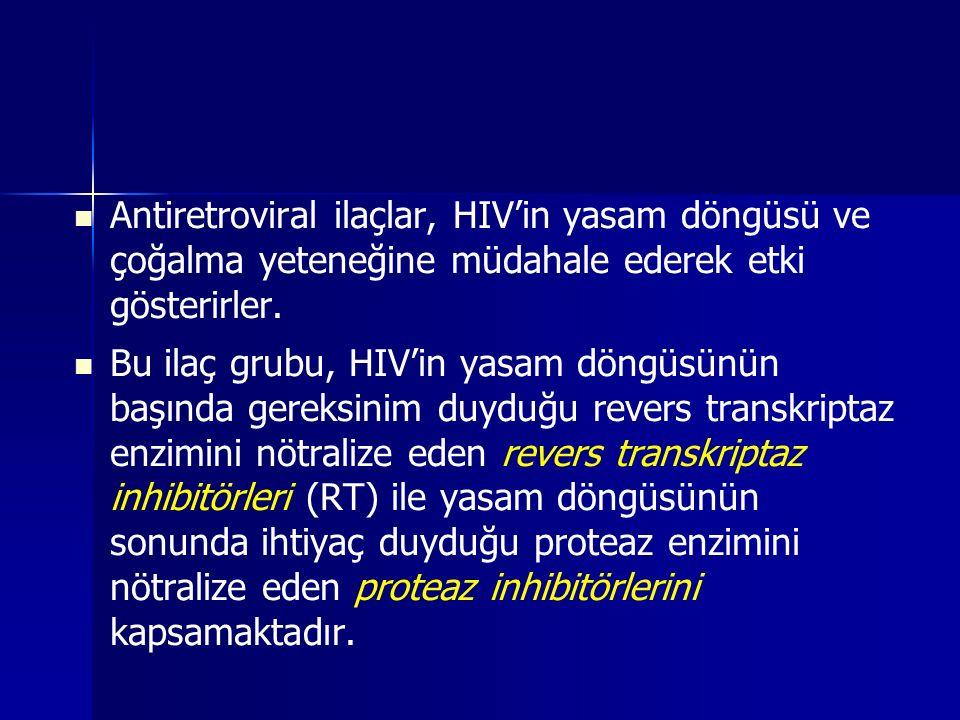 Antiretroviral ilaçlar, HIV'in yasam döngüsü ve çoğalma yeteneğine müdahale ederek etki gösterirler.