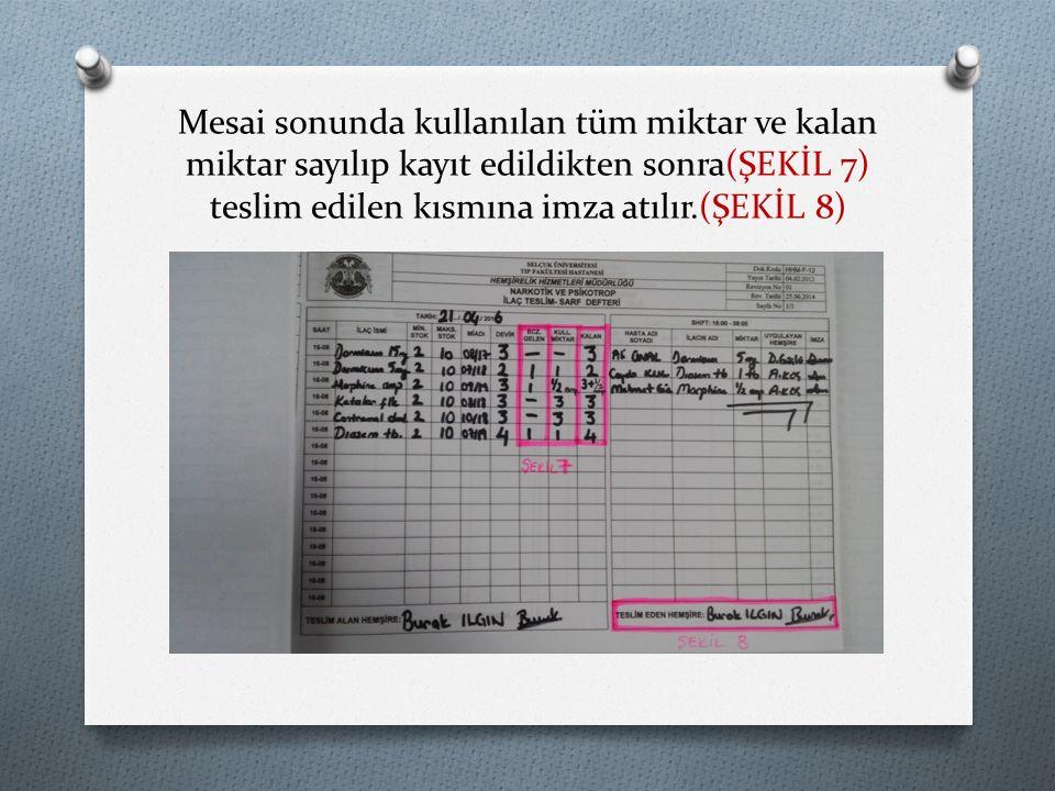 Mesai sonunda kullanılan tüm miktar ve kalan miktar sayılıp kayıt edildikten sonra(ŞEKİL 7) teslim edilen kısmına imza atılır.(ŞEKİL 8)