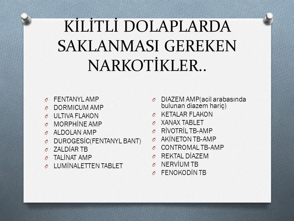 KİLİTLİ DOLAPLARDA SAKLANMASI GEREKEN NARKOTİKLER..