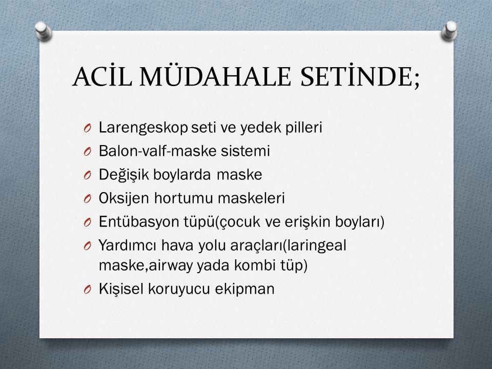 ACİL MÜDAHALE SETİNDE;