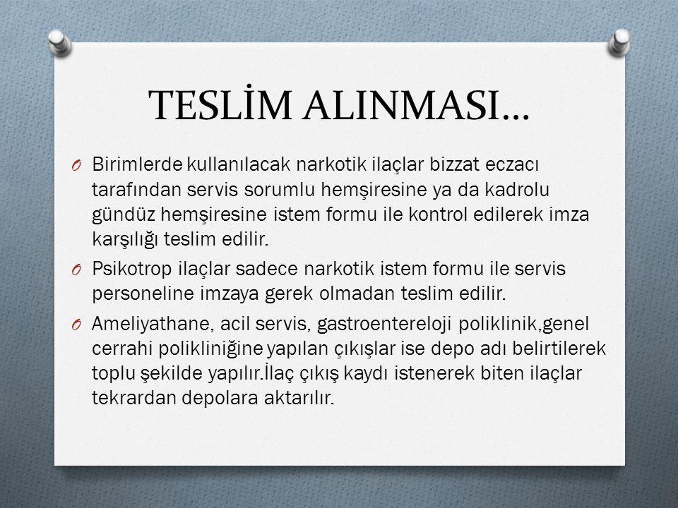 TESLİM ALINMASI…